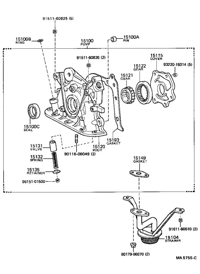 Toyota Corolla Valve. Oil adjusting; oil pump relief