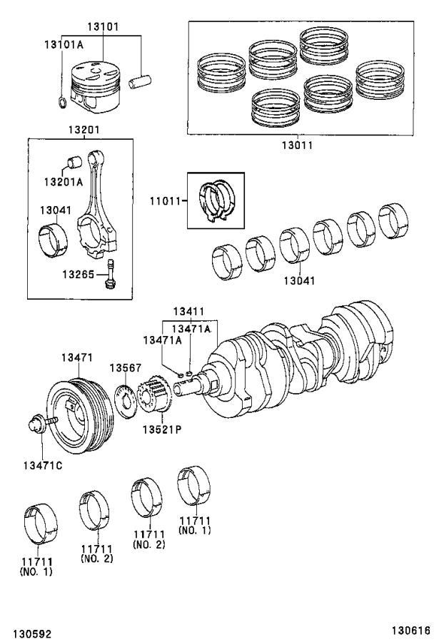 2006 Toyota Camry Engine Crankshaft Main Bearing. MARK 1