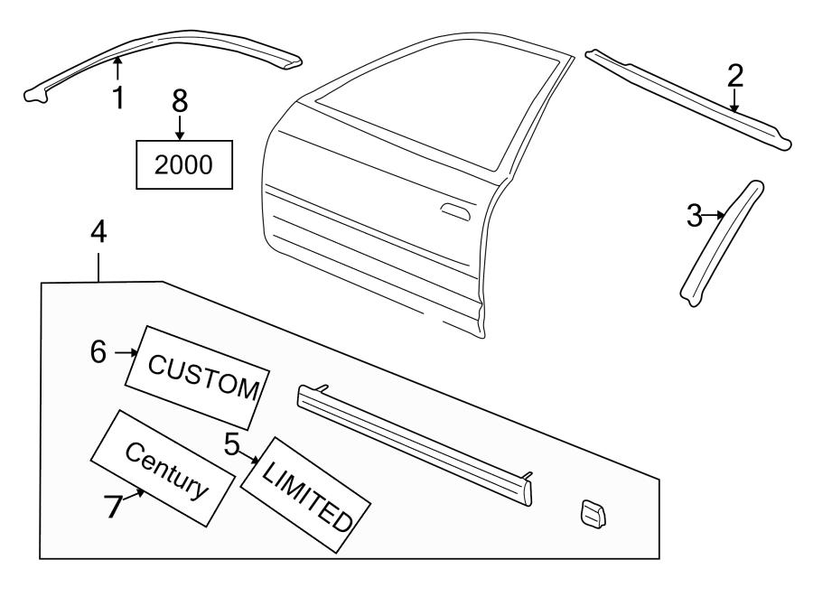 Buick Century Door Reveal Molding (Front, Upper). All