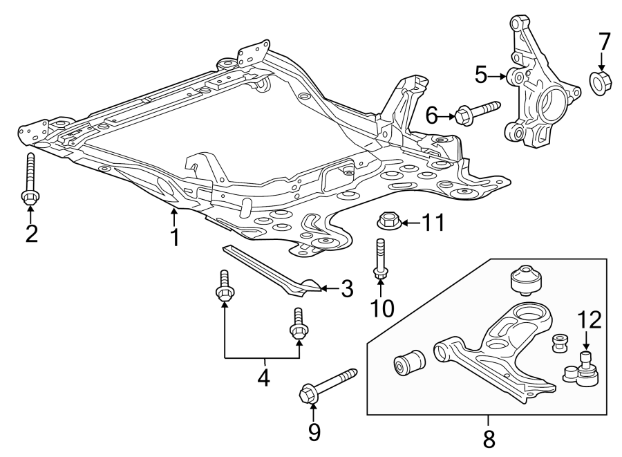 Chevrolet Sonic Suspension Subframe Crossmember (Front