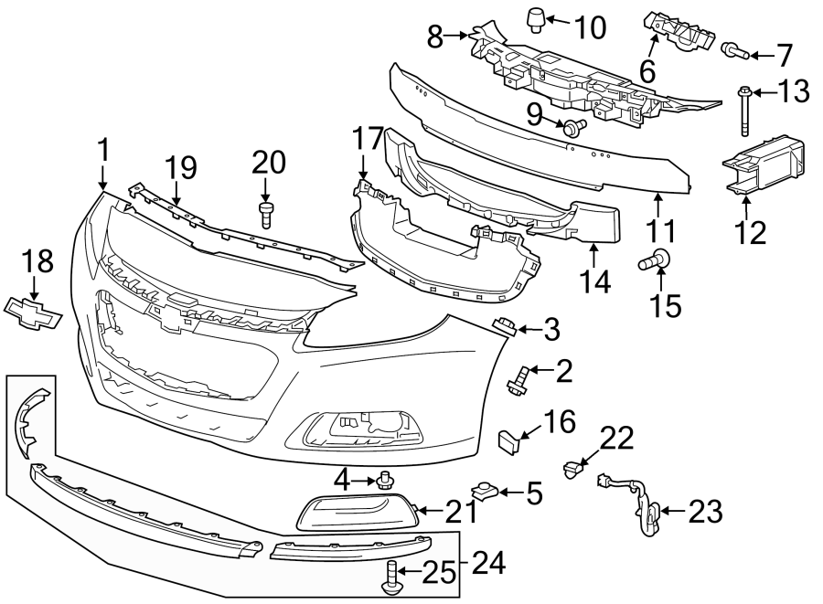 Chevrolet Malibu Radiator Support Air Deflector (Upper