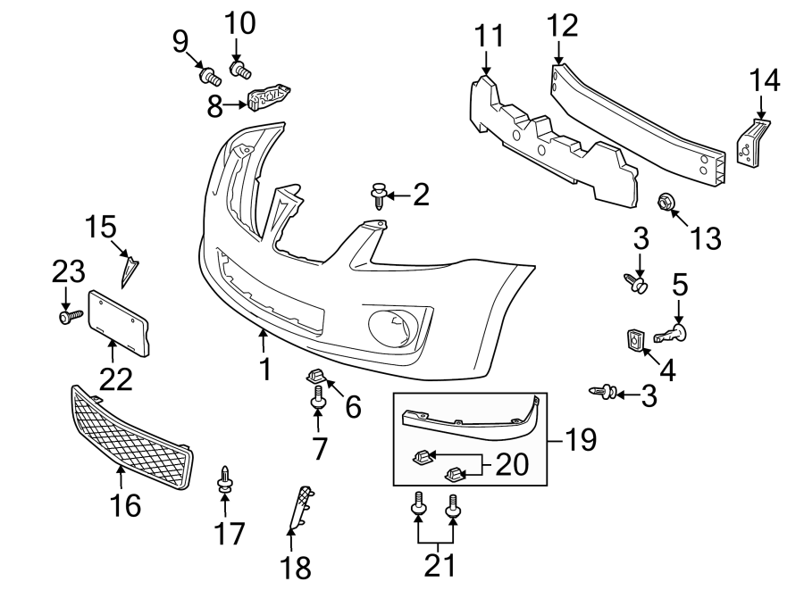 Pontiac Vibe Grille. W/GT. Lower, FRONT, COMPONENTS