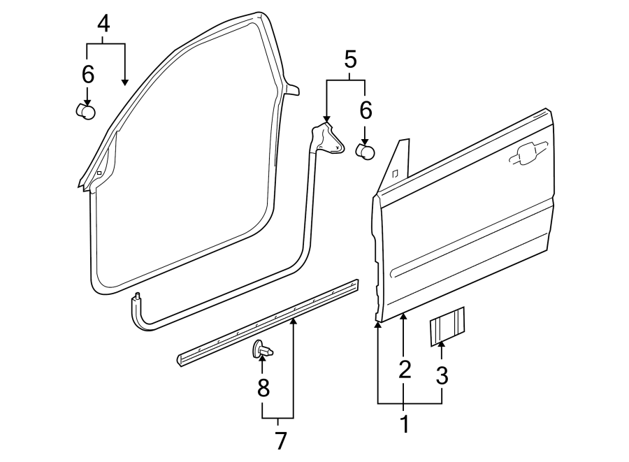 Pontiac G6 Door Seal (Front, Rear, Upper, Lower). COUPE