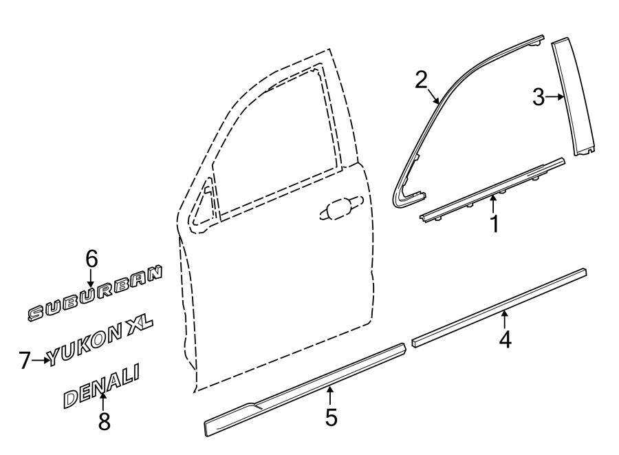 2018 GMC Yukon XL Door Molding (Upper, Lower). Suburban