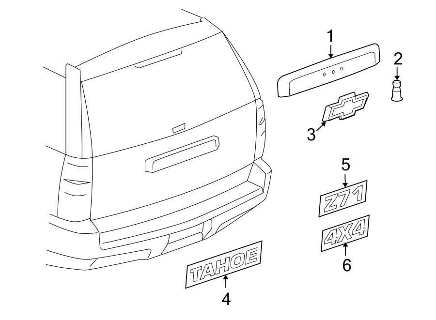 Chevrolet Tahoe Liftgate Finish Panel. Camera, Rear