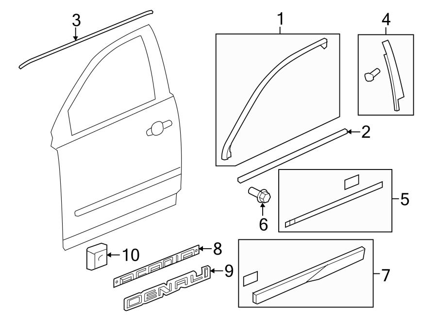 2015 GMC Acadia Door Molding (Lower). Right, Front, Body