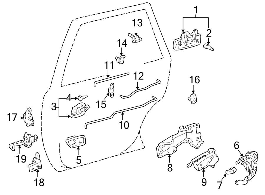 Toyota Camry Door Lock Operating Rod (Rear). Inside lock