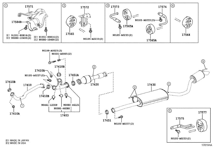 Toyota Highlander Pipe sub-assembly, exhaust, center no. 2