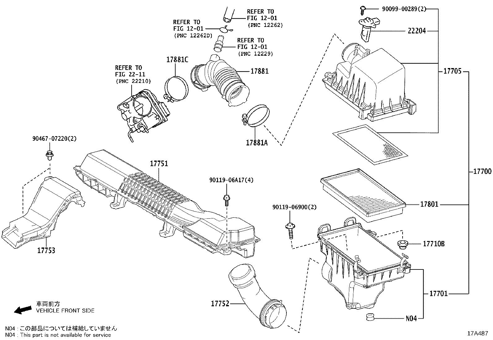 Toyota Corolla Case sub-assembly, air cleaner. Engine