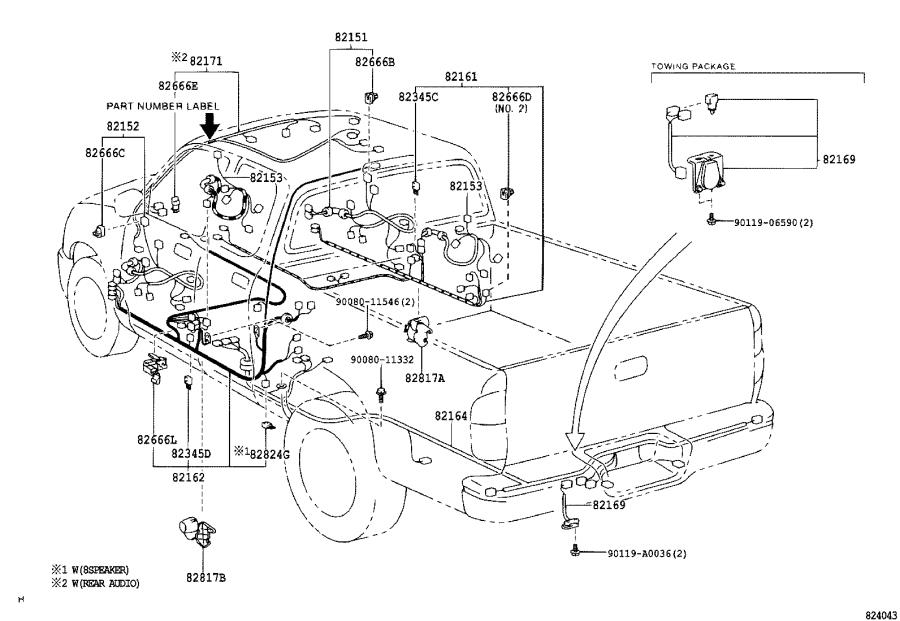 Toyota Tundra Wire, console box. Engine, roof, frame