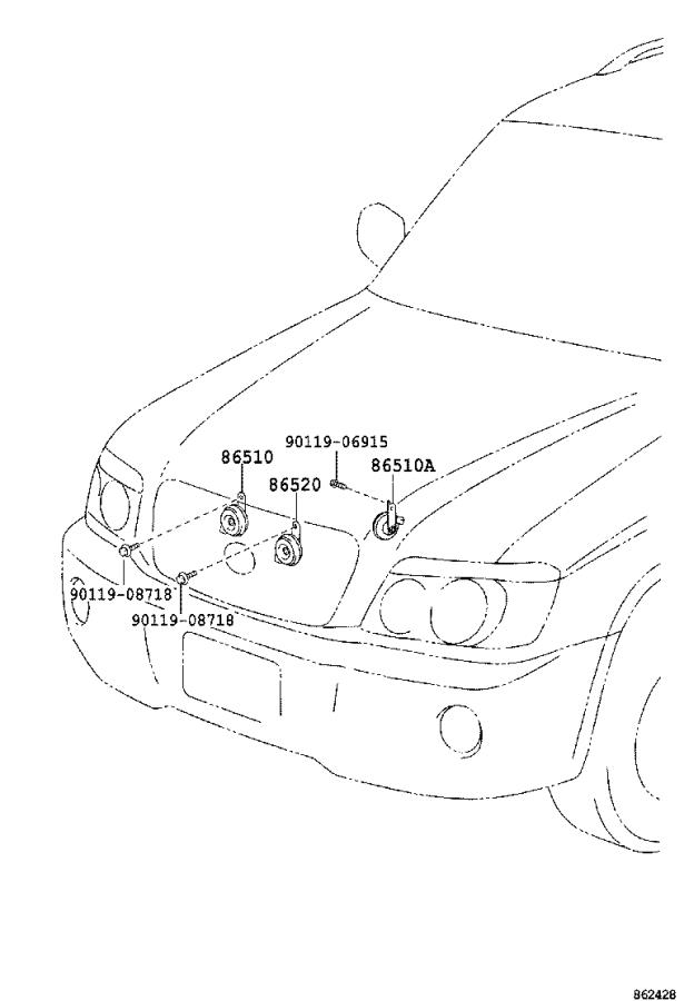 Toyota Highlander Horn assembly, security. Electrical