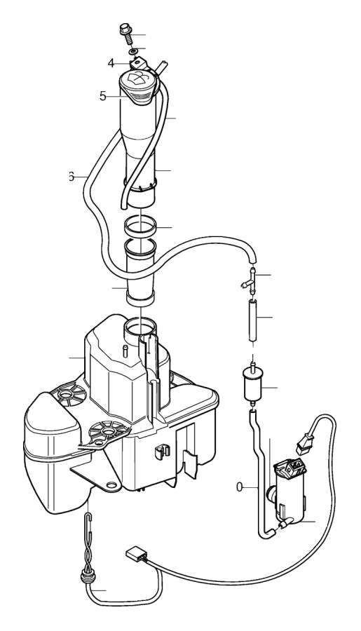 Volvo S80 Washer Fluid Reservoir Filler Pipe. Washer