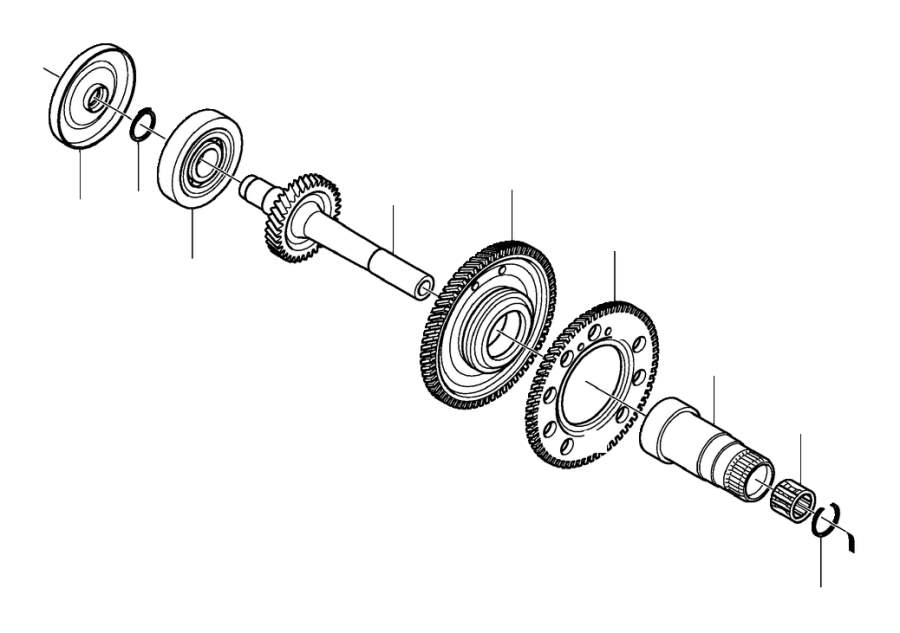 Volvo S80 Auxiliary Shaft. Bevel Gear. Transmission Gear