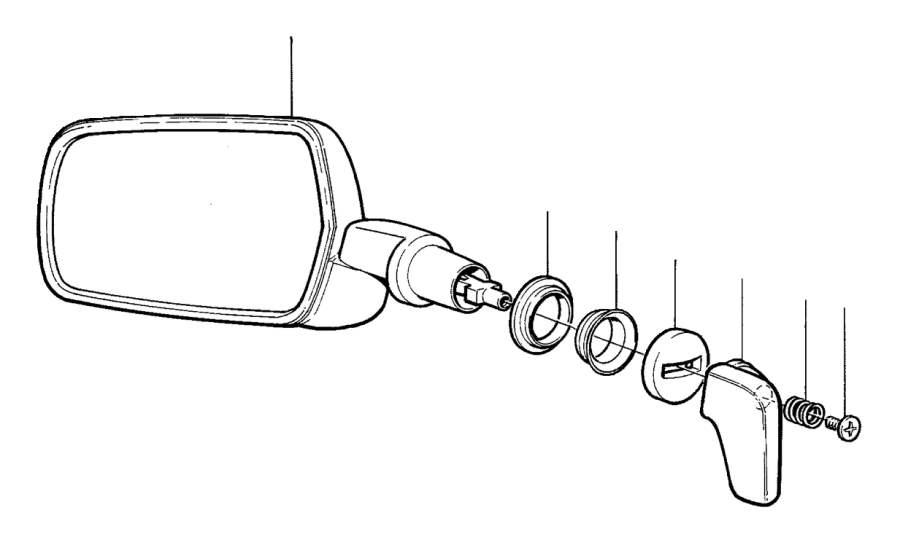 Volvo 240 Handle. Door Mirrors, Manual. Rear View Mirror