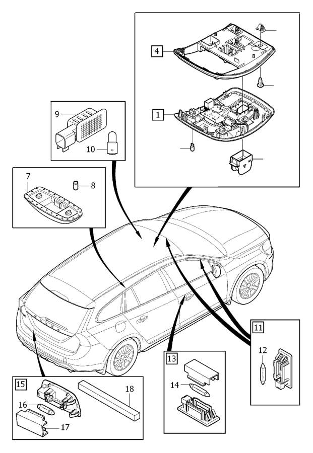 Volvo S80 Sunroof Switch (Inner). Lighting, Hatch