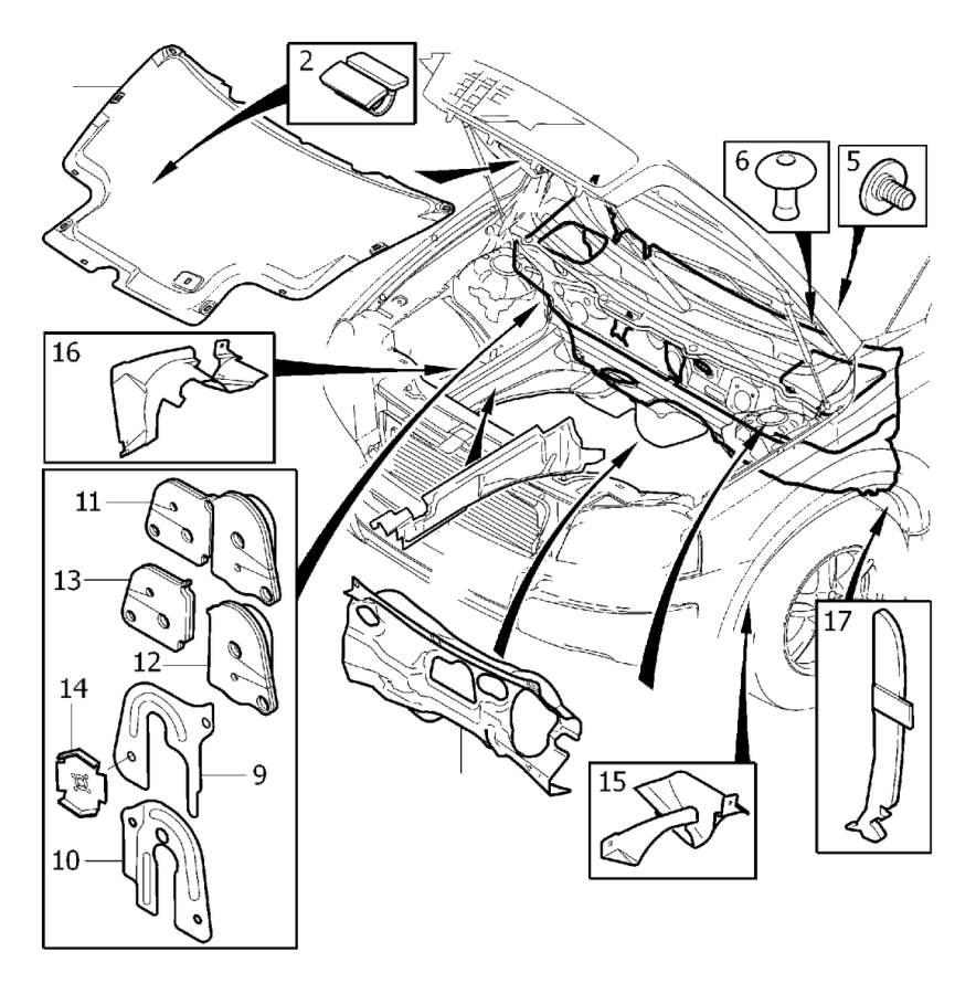 Volvo XC90 Insulating Mat. Diesel. Insulation Engine