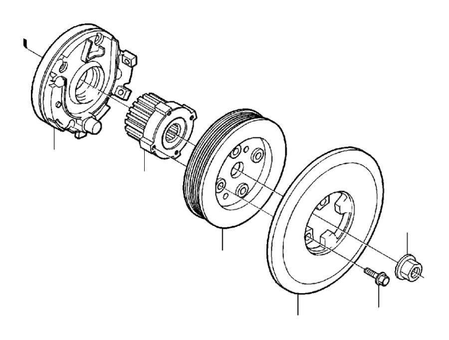 Volvo S80 Engine Crankshaft Pulley. Crank Mechanism