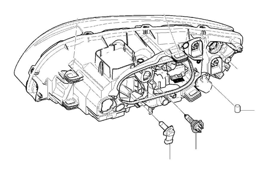 Volvo S60 Headlights. Halogen. Headlamps. (Right). System