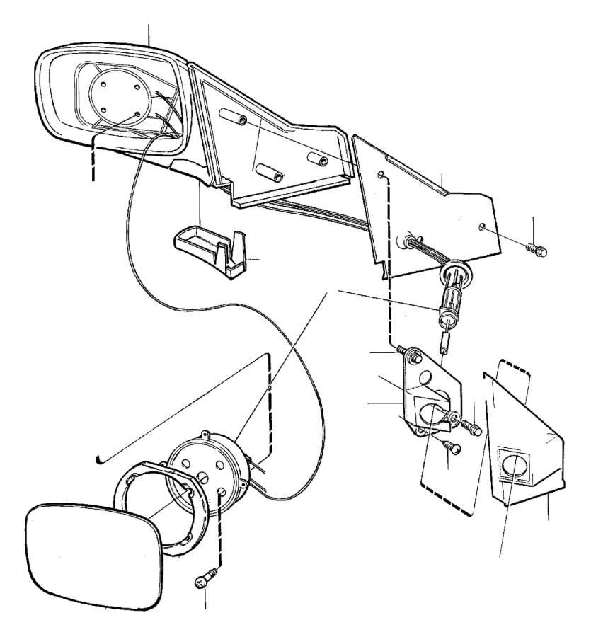 Volvo 240 Control. Door Mirrors, Manual. Rear View Mirror
