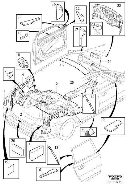 Volvo V70 Sealing. Door. Insulation, Passenger and Cargo