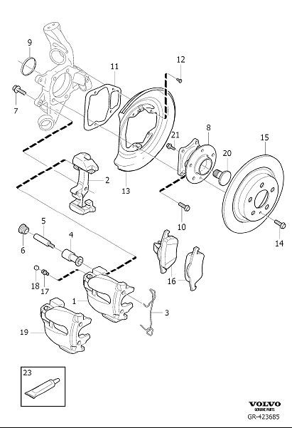 Volvo XC90 Disc Brake Caliper Bracket Mounting Bolt (Left
