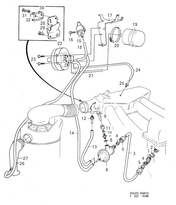 Volvo 240 Pipe. Exhaust Gas Recirculation. MC 31. B20F E.G