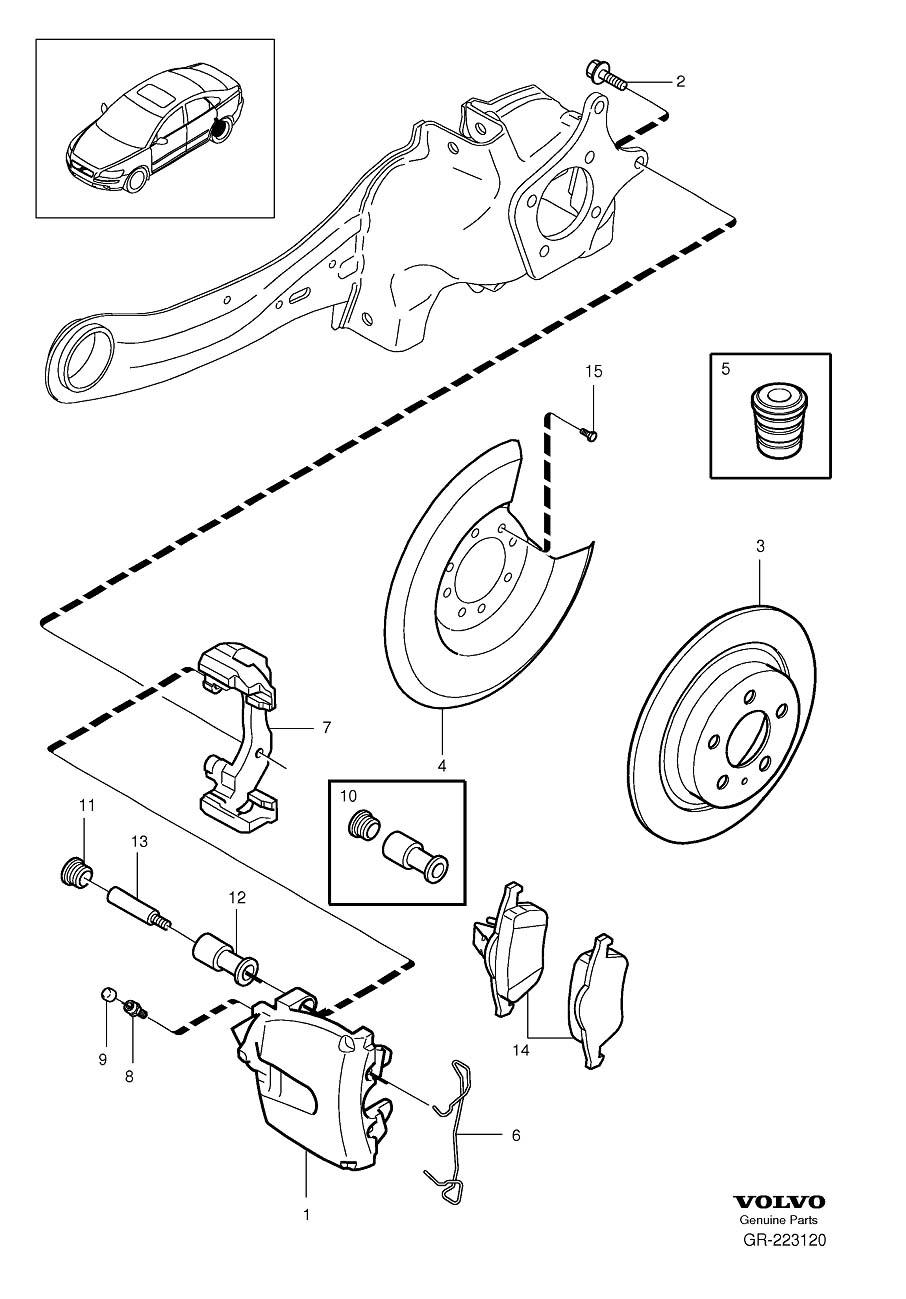 Volvo S40 Disc Brake Abutment Clip. Spring. Rear, Wheel