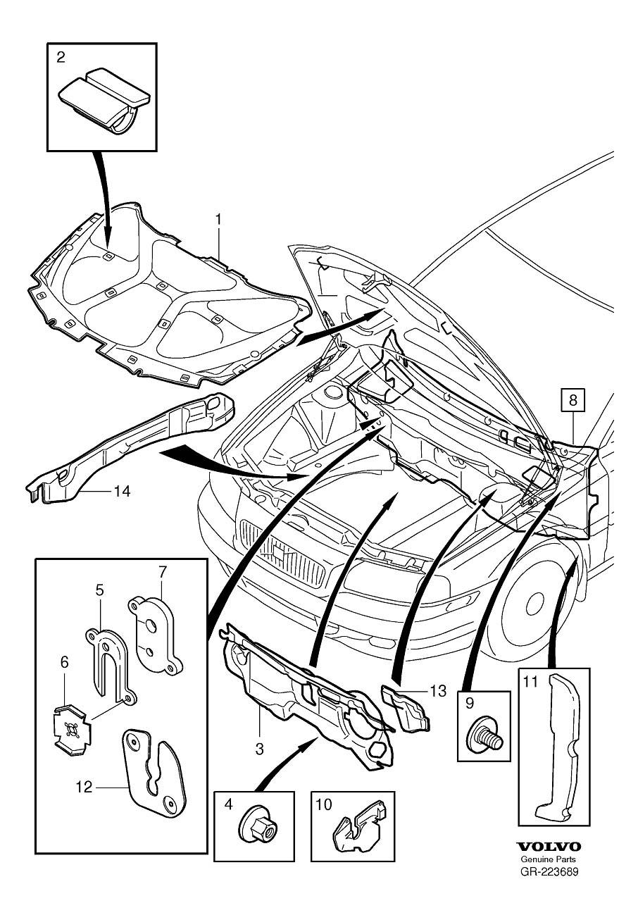 Volvo S60 Hood Insulation Pad. Sound Absorber. Engine