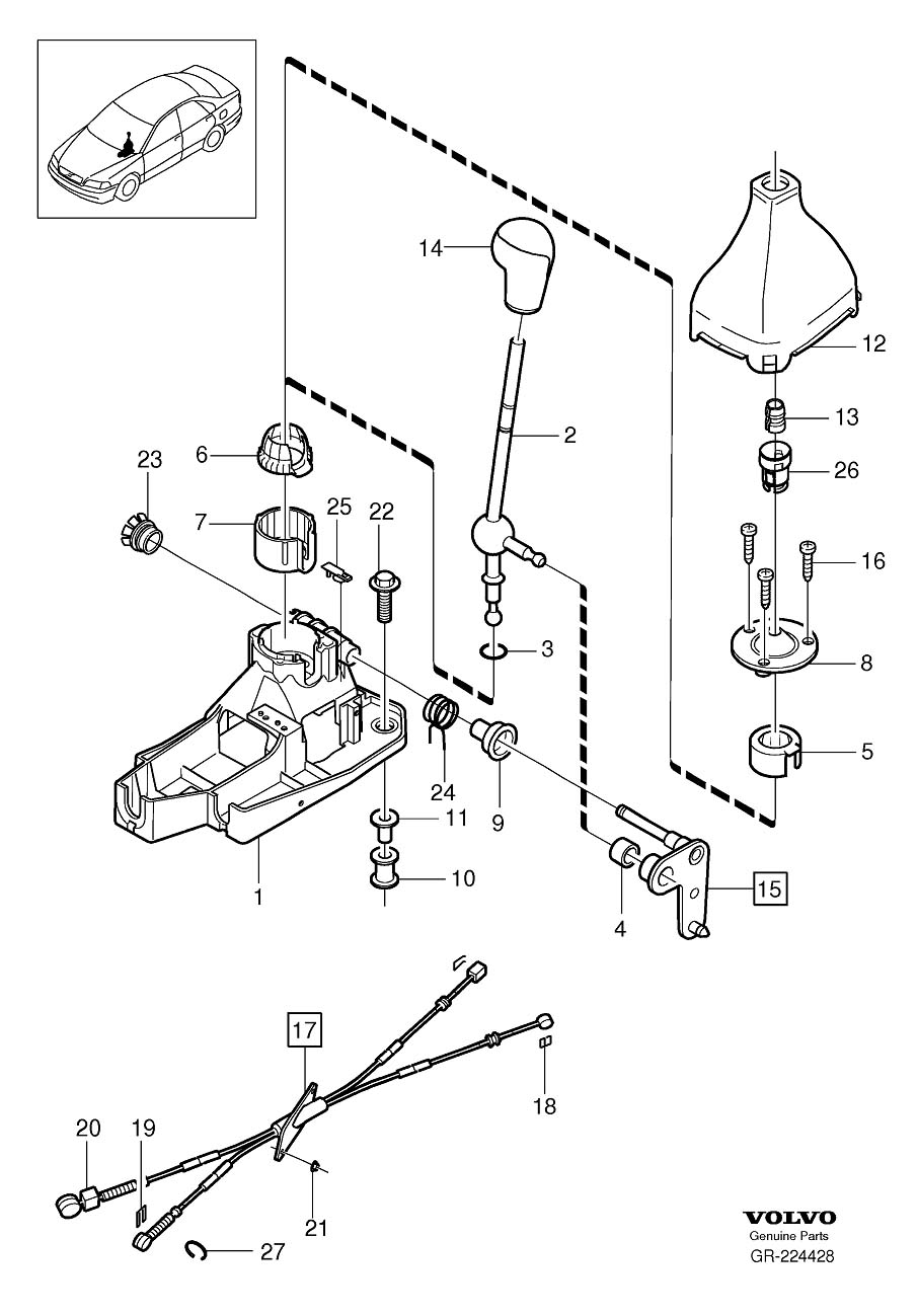 Volvo V70 Boot. Brush Holder 18. Gearshift. LHD. Manual