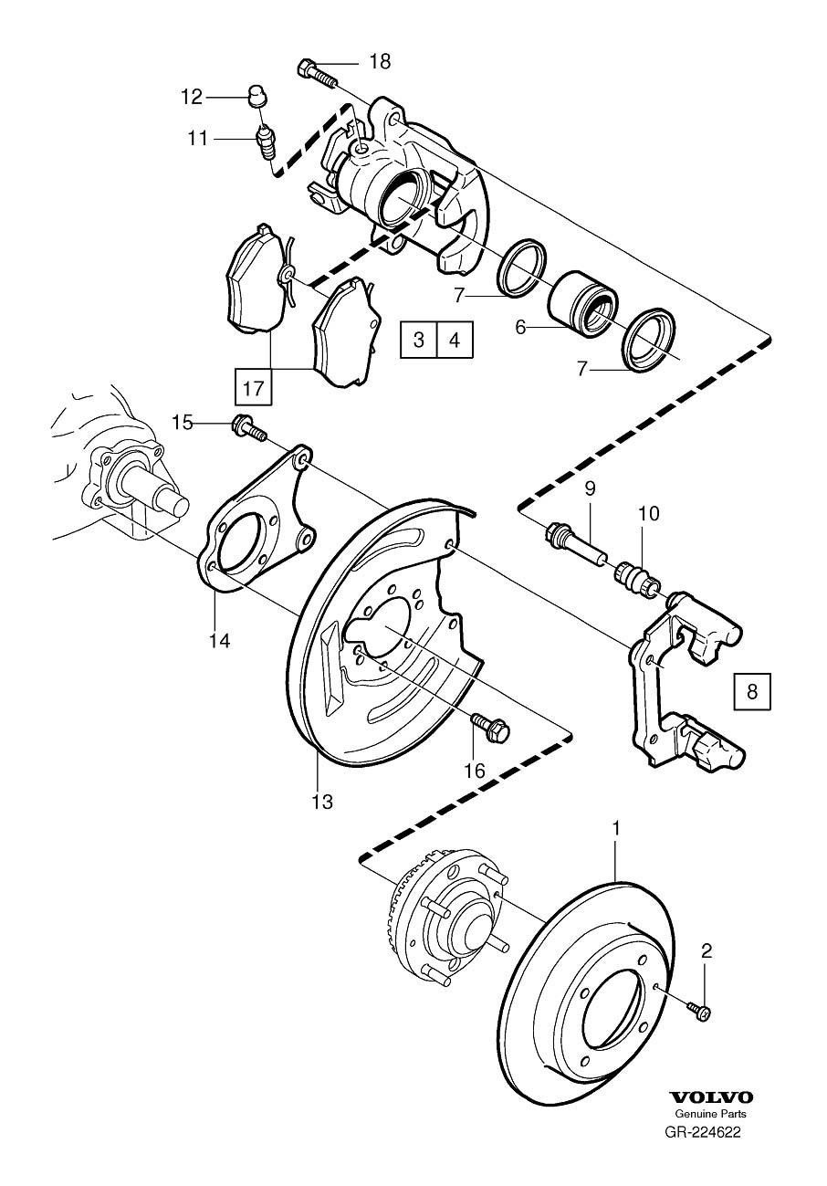 Volvo S40 Disc Brake Caliper Bracket Mounting Bolt (Rear