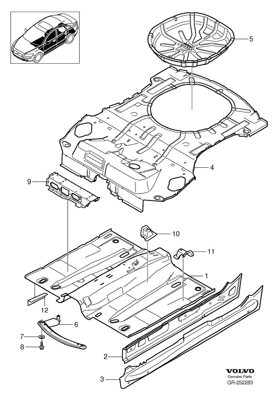 Volvo V50 Rocker Panel Reinforcement (Right). AWD. Floor