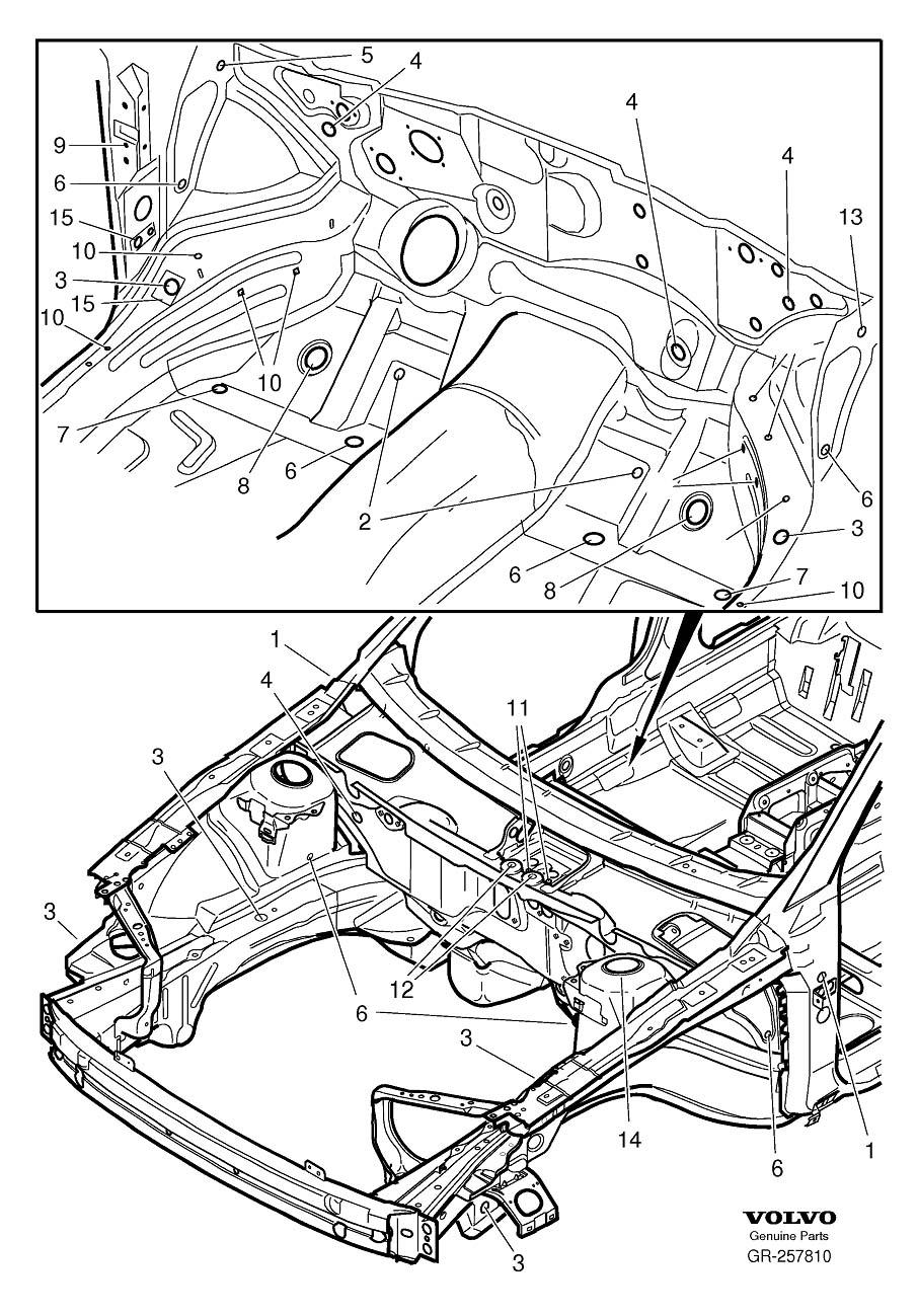 Volvo V70 Sealing Plugs. AWD. FWD. Seals Body, Cargo