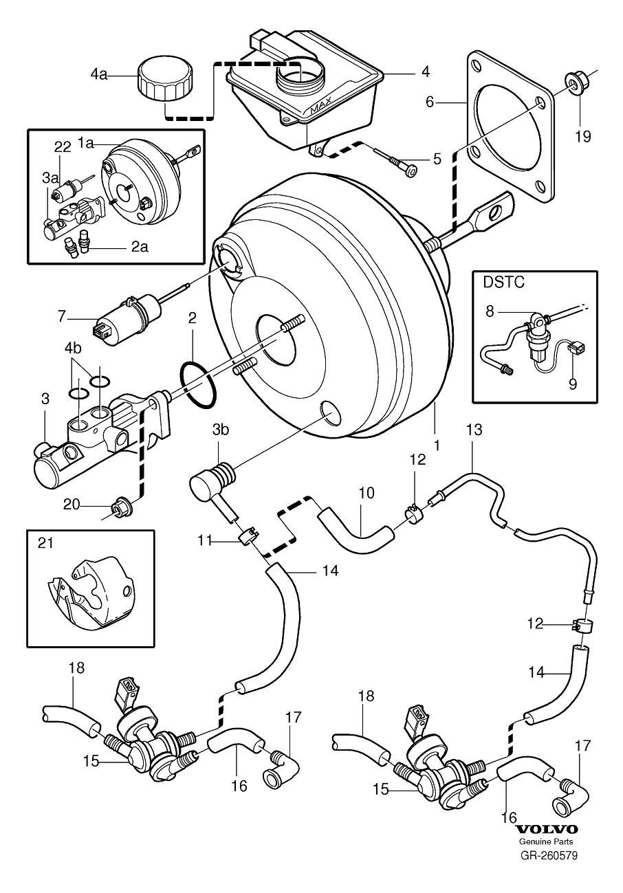 Volvo S80 Power Brake Booster. Cylinder, Master, DSTC