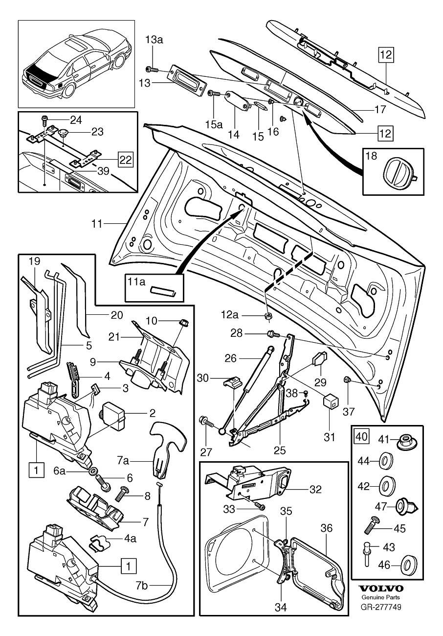 Volvo S80 Fuel Filler Door. Boot Lid. Trunk Lid. Locking