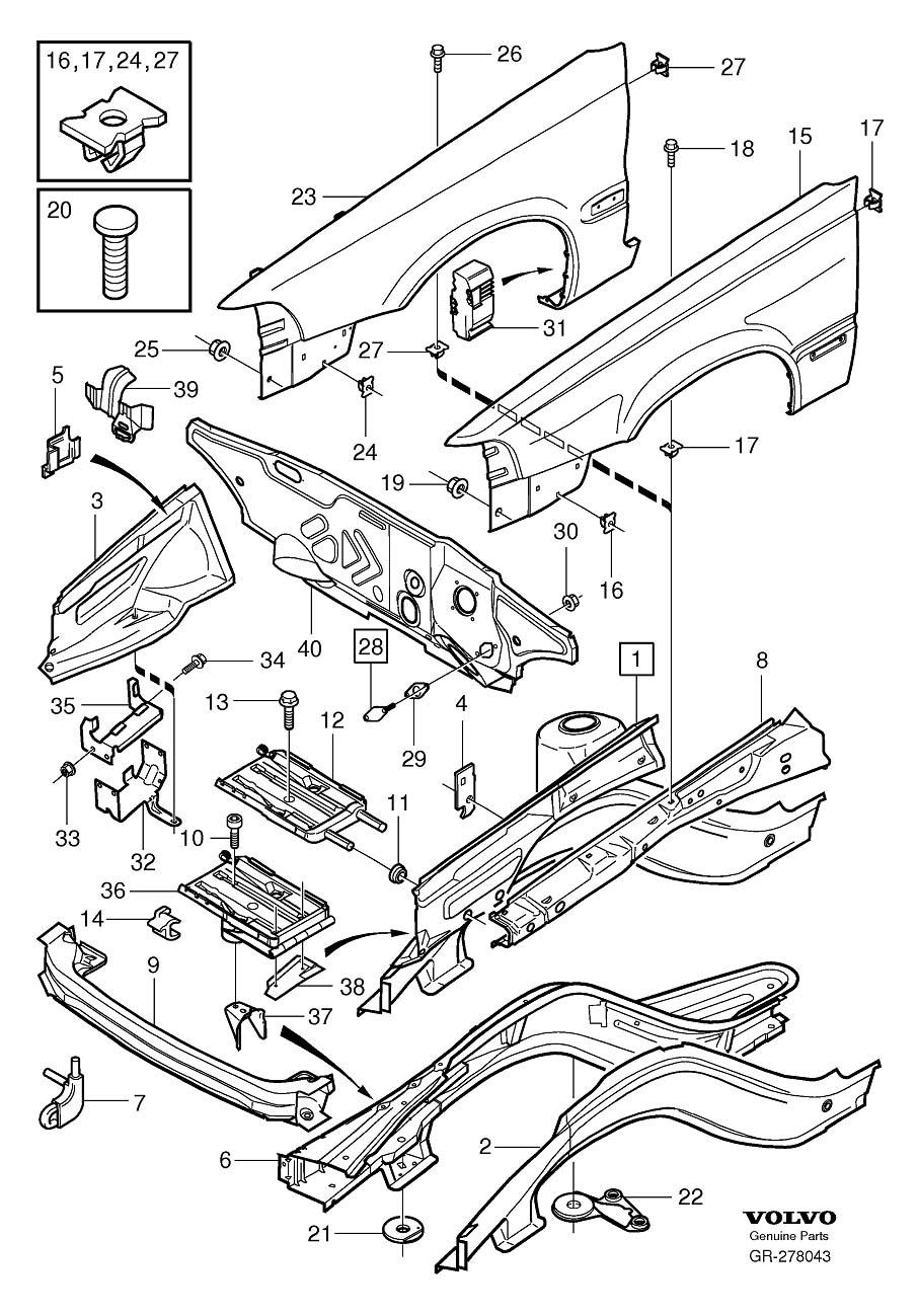 Volvo C70 Oscillation Damper. Body Frame. Section. (Front