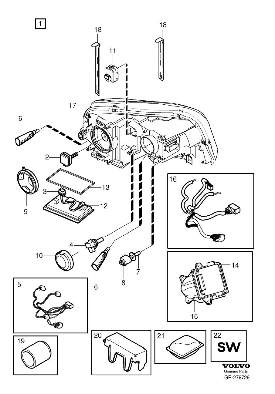 Volvo XC90 Harness. Active Gas Discharge Lamp. Headlamps