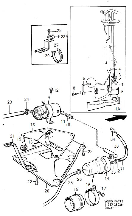 Volvo 240 Pressure Accumulator. B27. Fuel Pump with