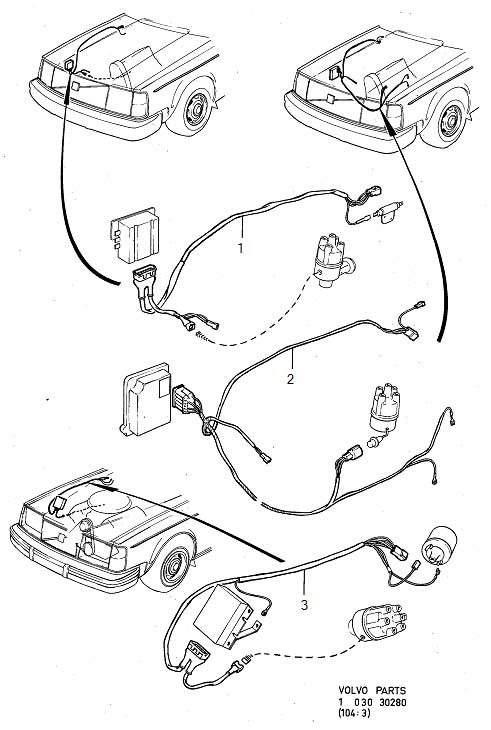 Volvo 260 Wiring Harness. Cable Harness. Ignition System