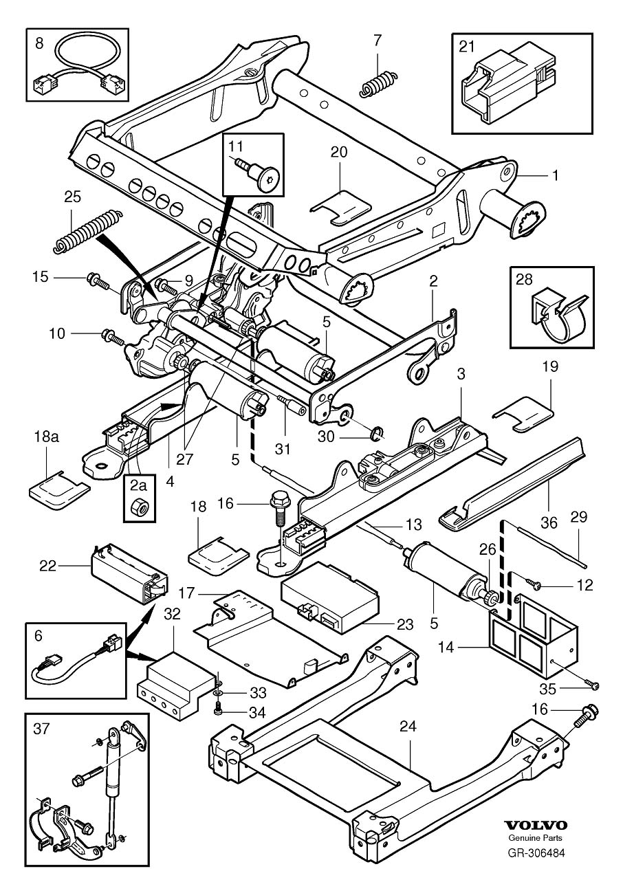 Volvo XC90 Cover. Subframe For Seat, Electrical Adjustment