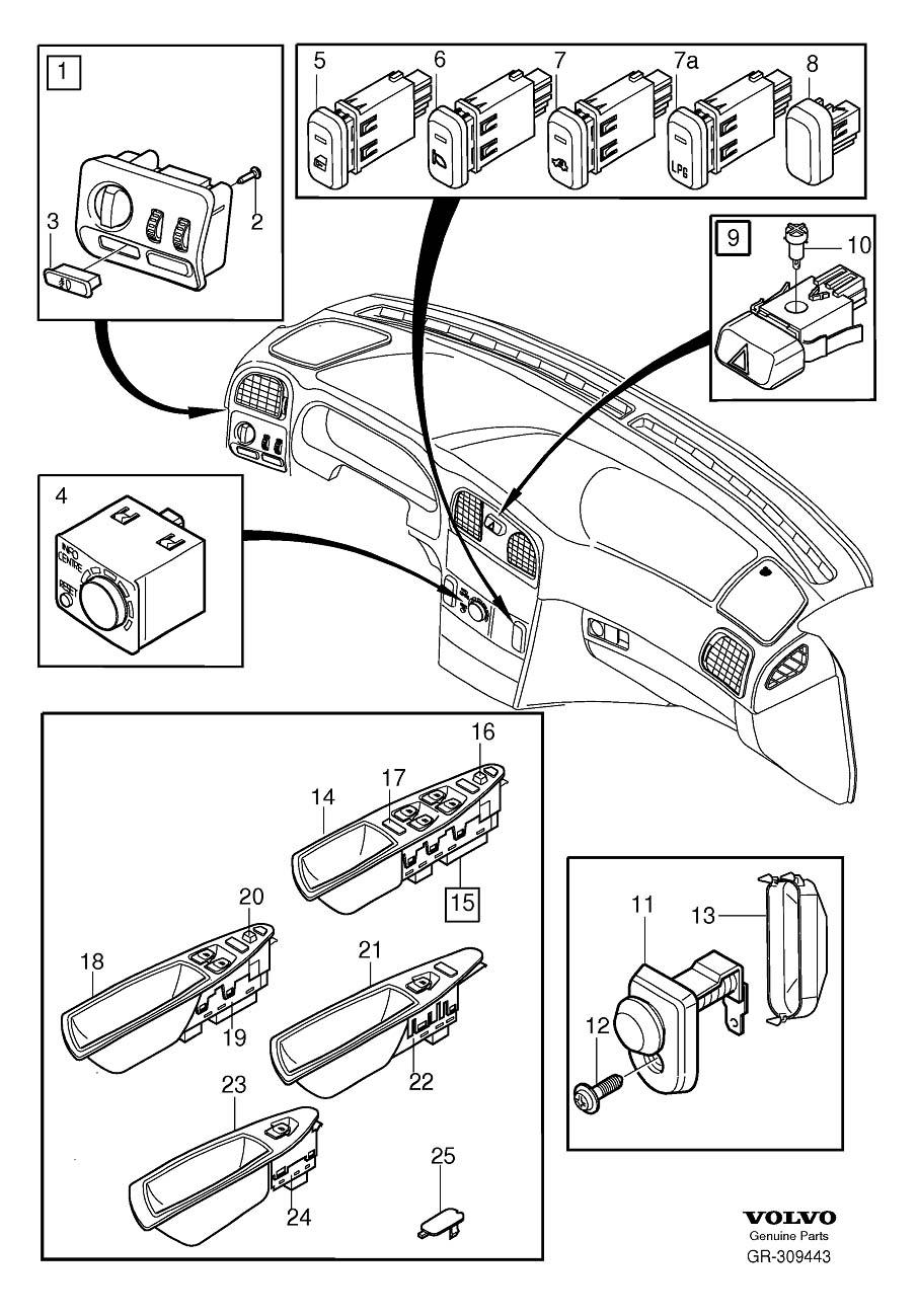 Volvo S40 Knob. Child Lock. Switches. 2001. System