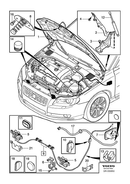 Volvo S80 Hood Release Cable Clip. Retainer. Engine Bonnet