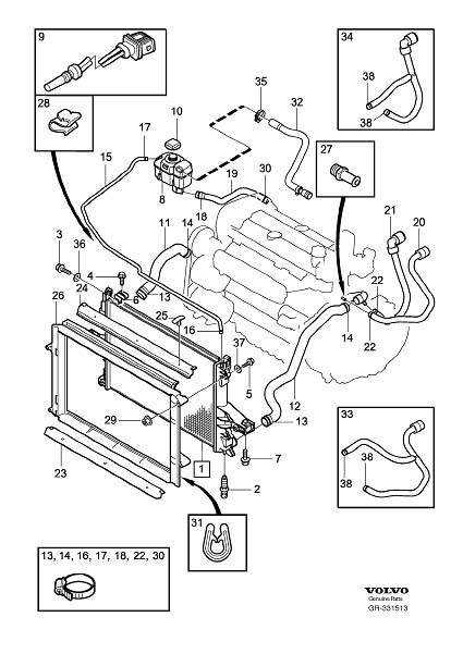 Volvo S80 Cover Frame. Expansion Tank. Hoses. Radiator