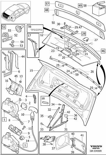 Volvo S60 Spoiler Spacer. D5244T8. Lid, Fuse, Engine