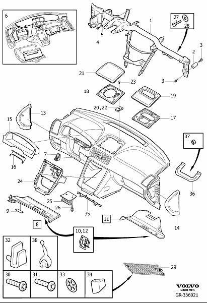 Volvo XC90 Instrument Panel Knee Bolster (Right, Oak