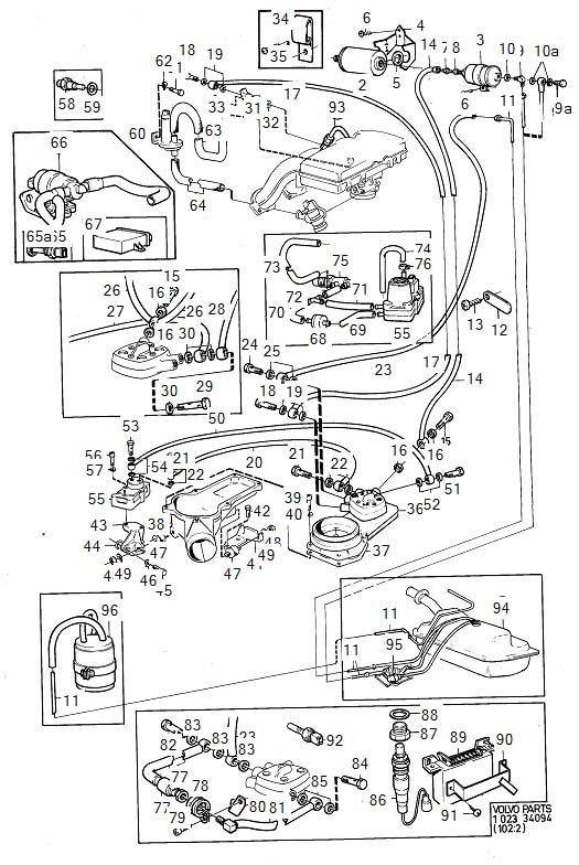 Volvo 260 Bracket. Fuel Filter. Fuel Pipe. Fuel System