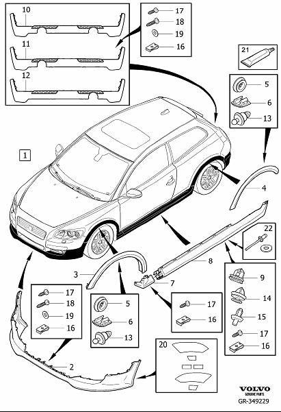 Volvo C30 Rubber Guard. Body Kit. Bumper, Body Parts
