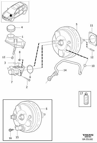 Volvo XC60 Brake Vacuum Hose. Master Cylinder, Power Brake