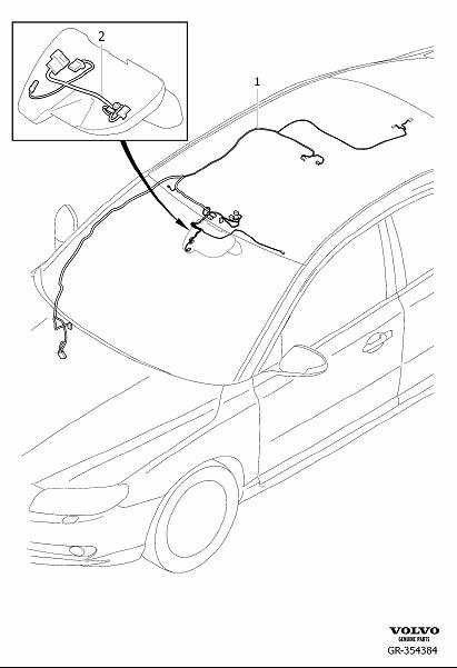 Volvo S80 Wiring Harness. Cable Harness Roof. With Roof