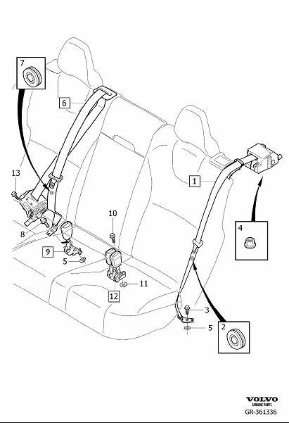 Volvo XC60 Seat Belt Lap and Shoulder Belt (Rear). Seat