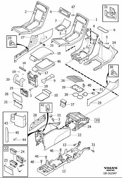 Volvo V70 Console Armrest (Interior code: EX1X, FX1X